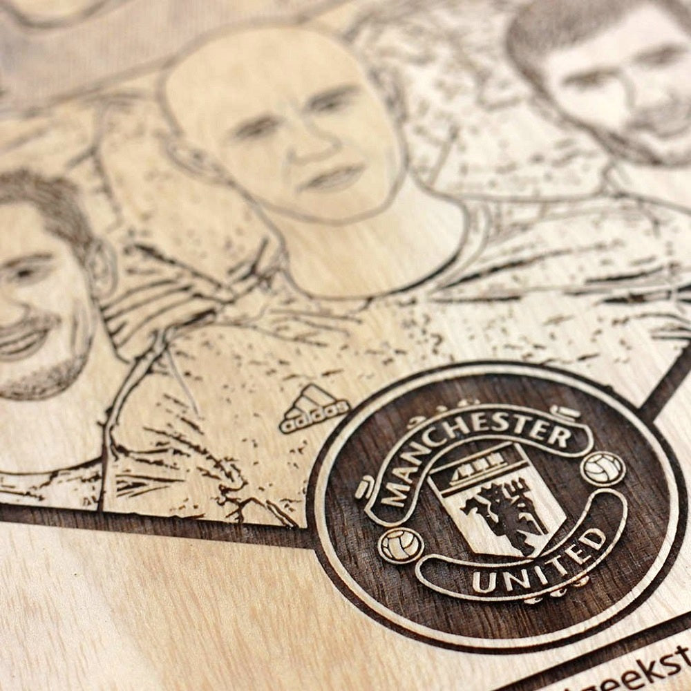 Manchester United Class of 92 carved wooden poster - Wood carved poster - carved wooden posters - football gifts - custom wood posters - wood poster - gifts for friends - Gift ideas - woodgeekstore