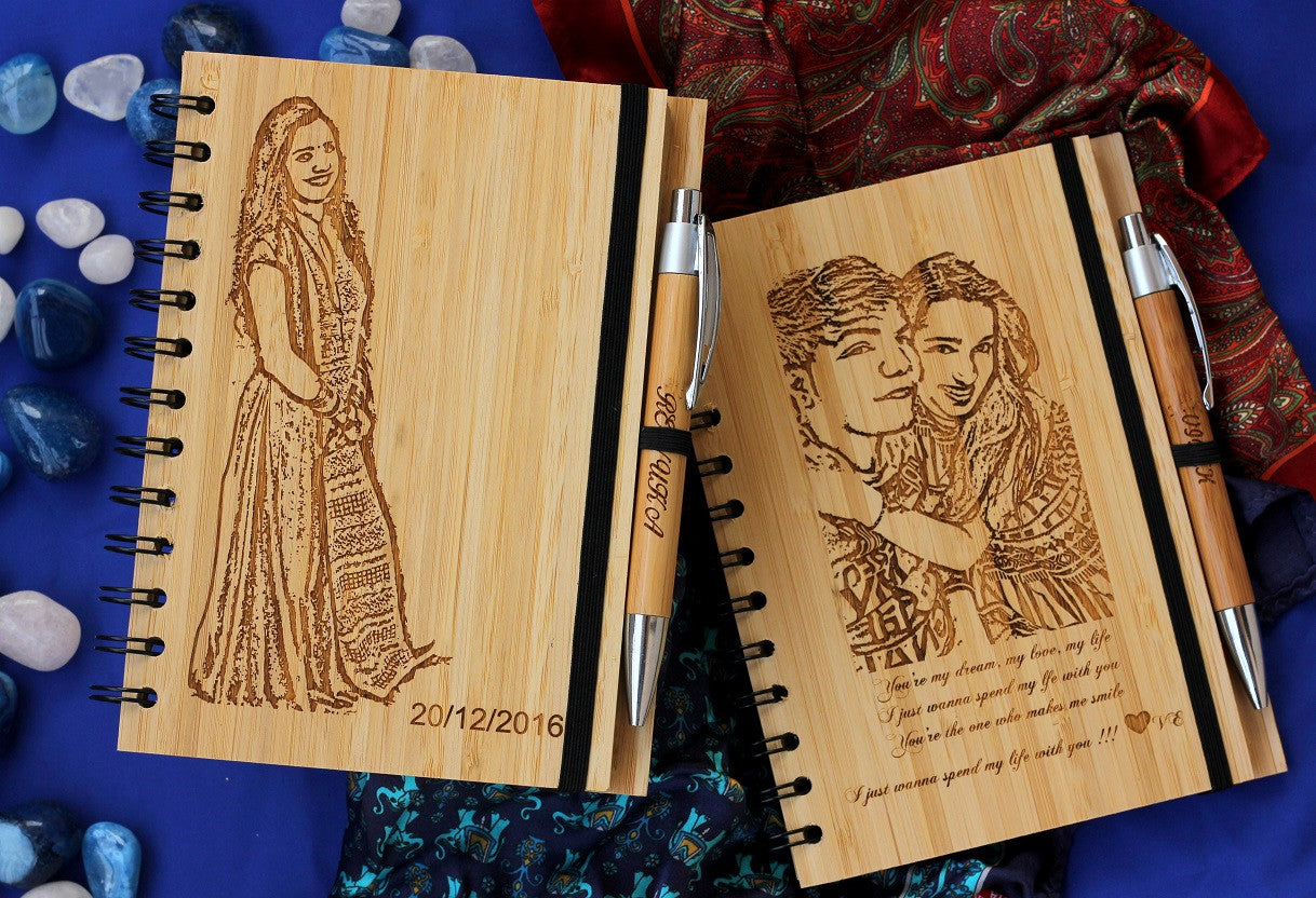 Engraved wood journal - Personal Notebook with Photo Engraving - Woodgeek Store