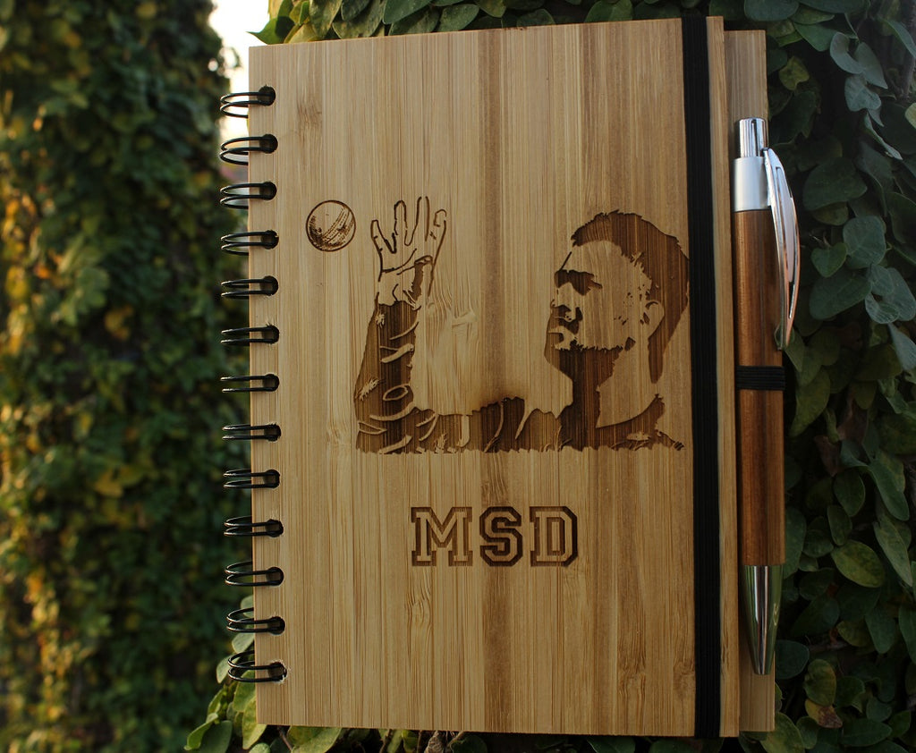 Buy Custom engraved Dhoni bamboo notebook - Woodgeek Store