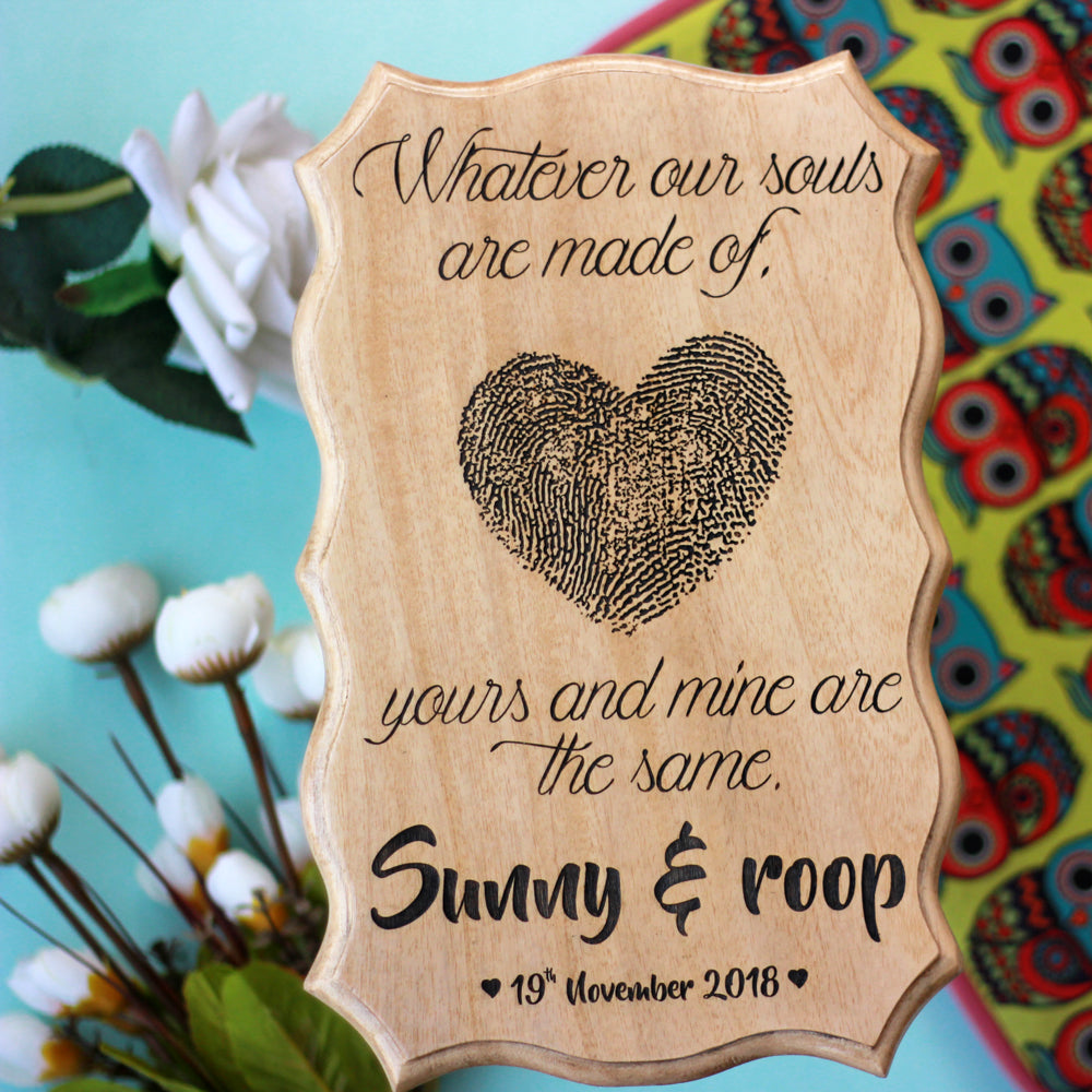 Fingerprint Heart Custom Wood Sign - Home Decor Signs - Personalised Wooden Plaques - Personalised Wooden Plaques - Valentine's Gifts Online - Romantic Gift Ideas - Online Wood Shop - Made Out Of Wood -  Woodgeek - Woodgeekstore