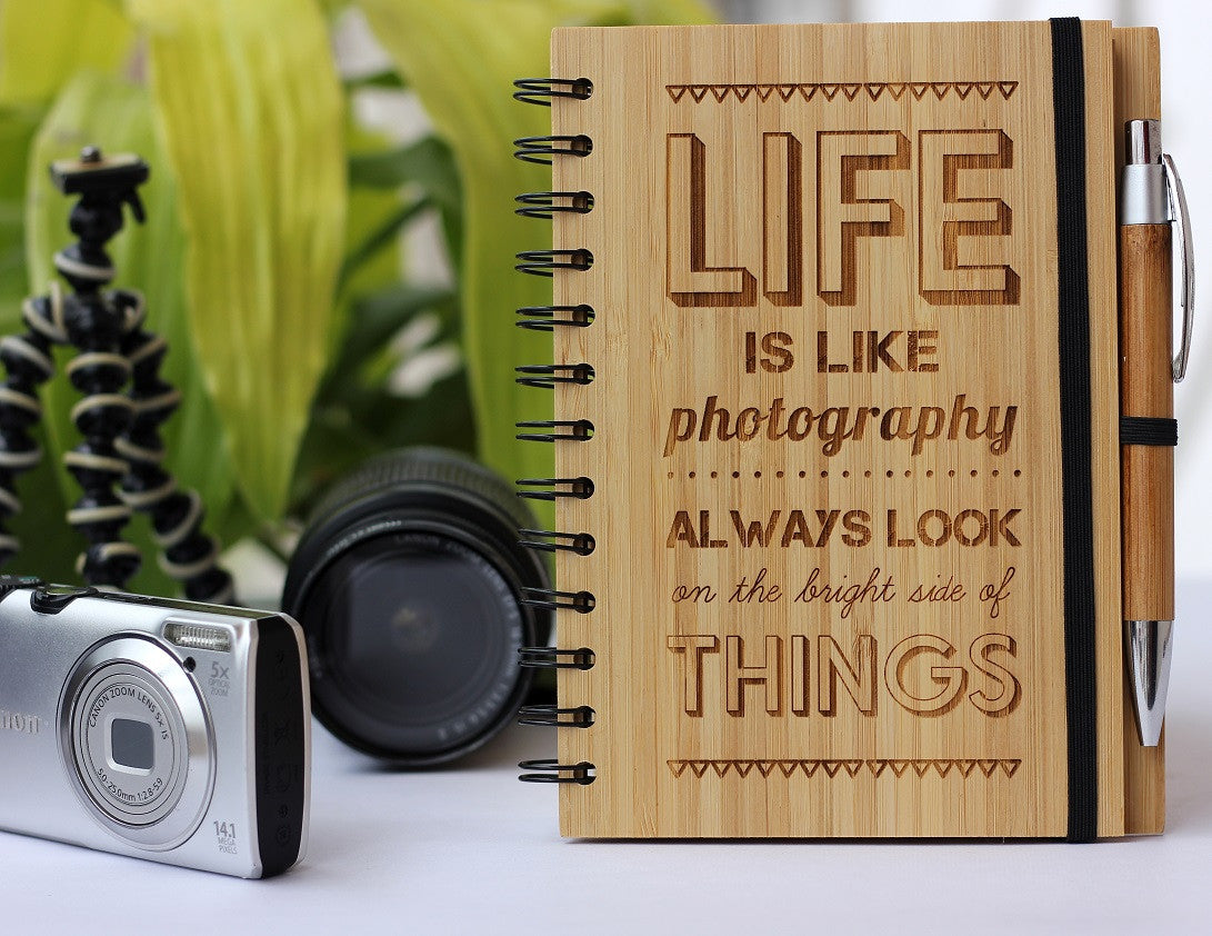 Photography Journal - Wooden Journal - Bamboo Wood Notebook - Woodgeek Store