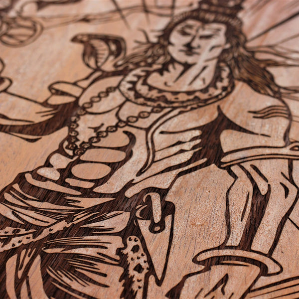 Lord Shiva - Unique Wooden Poster a- Engraved Shiva Poster - Hindu Poster - Woodgeek - Woodgeekstore