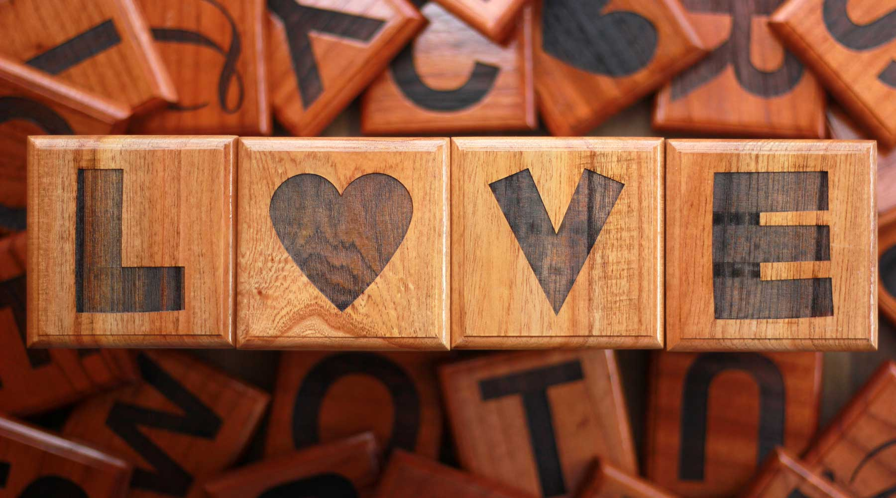 Love Wood Crossword - Letter Wall Decor - Tiles With Words On Them - Love Gifts - Crossword Puzzles - Cute Couple Gifts - Woodgeek - Woodgeekstore
