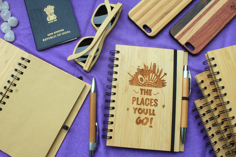 Oh! The places you'll go - Wood Travel & Adventure Journal - Woodgeek Store
