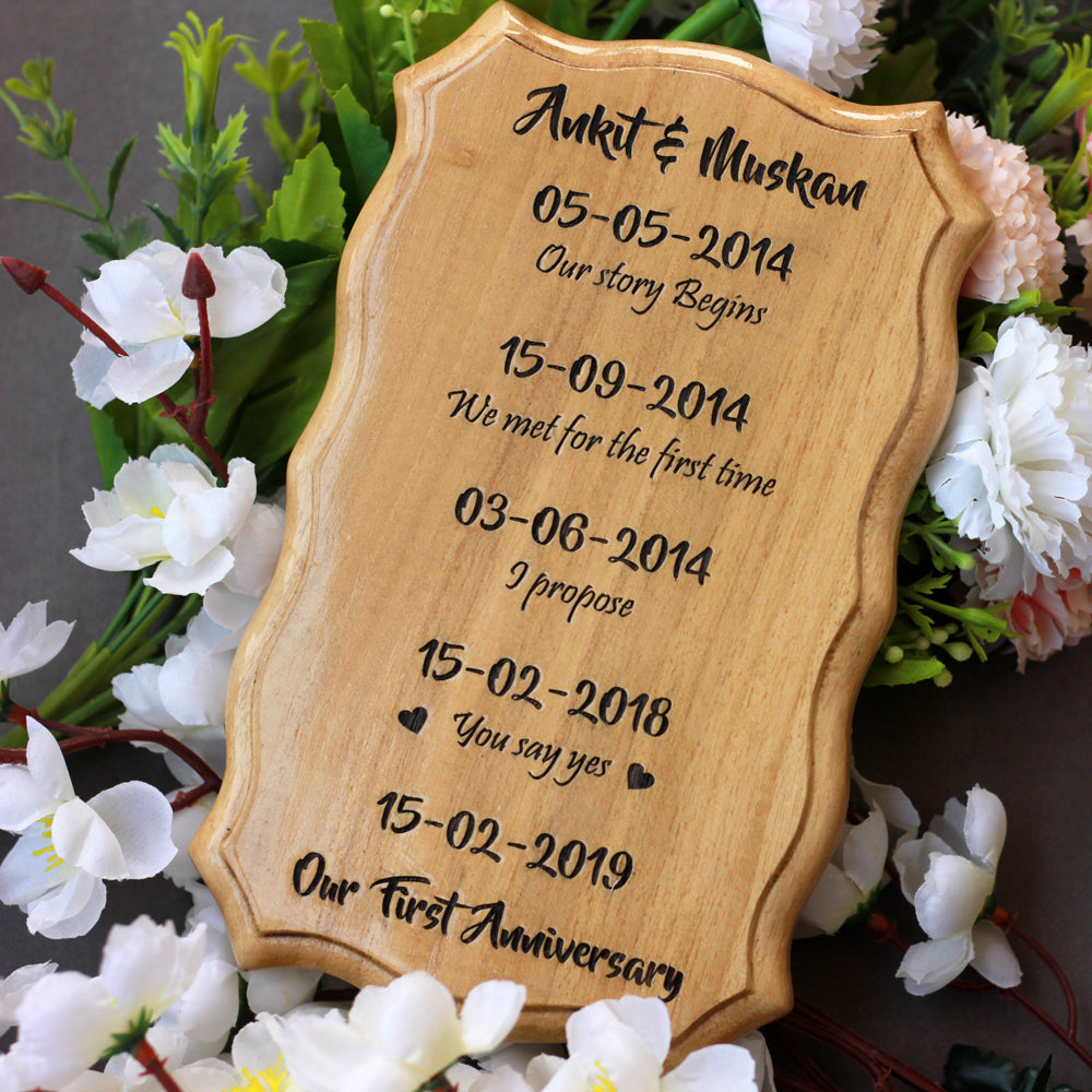 Customized Love Story Timeline Wood Sign - Wood Carved Signs - Custom Wood Engraving - Best Love Gift - I Love You Gifts - Unique Gift Ideas For Valentine's Day - Wooden Items Online - Woodgeek - Woodgeekstore
