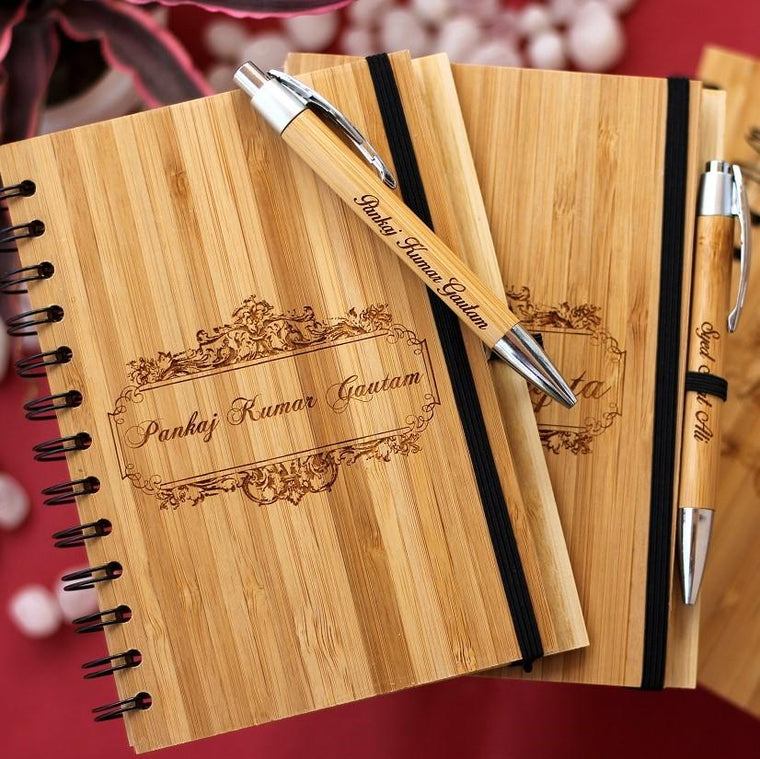 personalised wooden journals with wooden pen custm engraved with your name by woodgeek