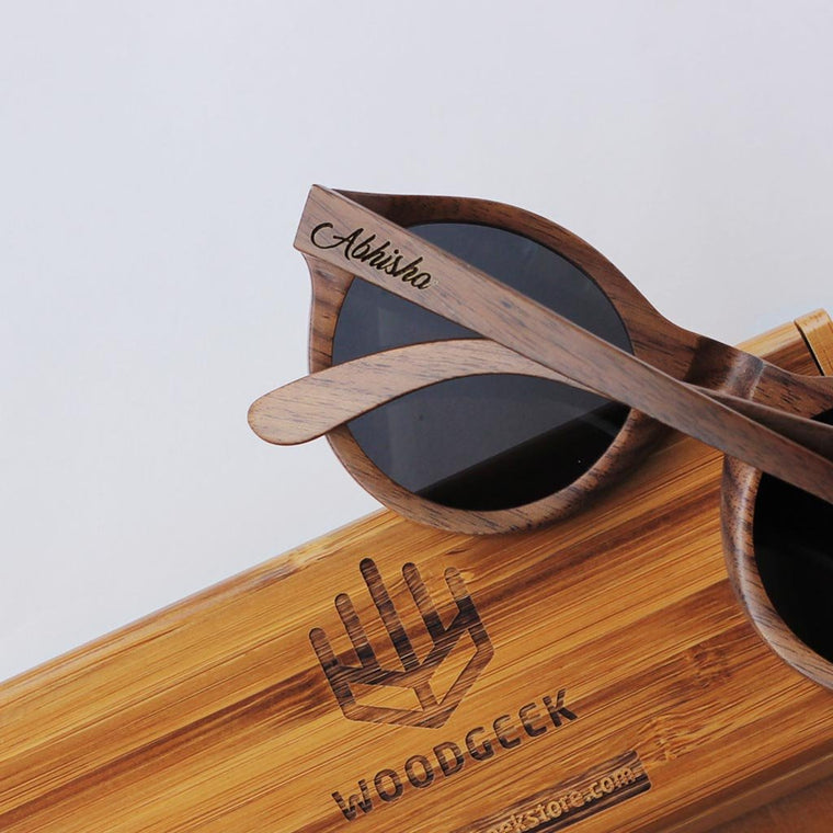 personalised wooden sunglasses customised with your message by woodgeek