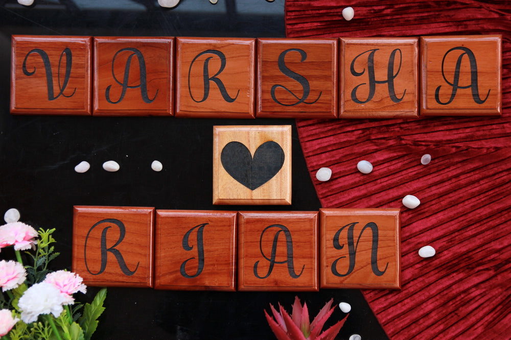 Wooden Crossword Blocks - Love Gifts For Him - Love Gifts For Her - Scrabble Art - Wall Decor - Custom Wood Engraving Gifts - Wooden Tiles - Wooden Crosswords - Personalized Gifts Online - The Wood Shop - Woodgeekstore - Woodgeekstore