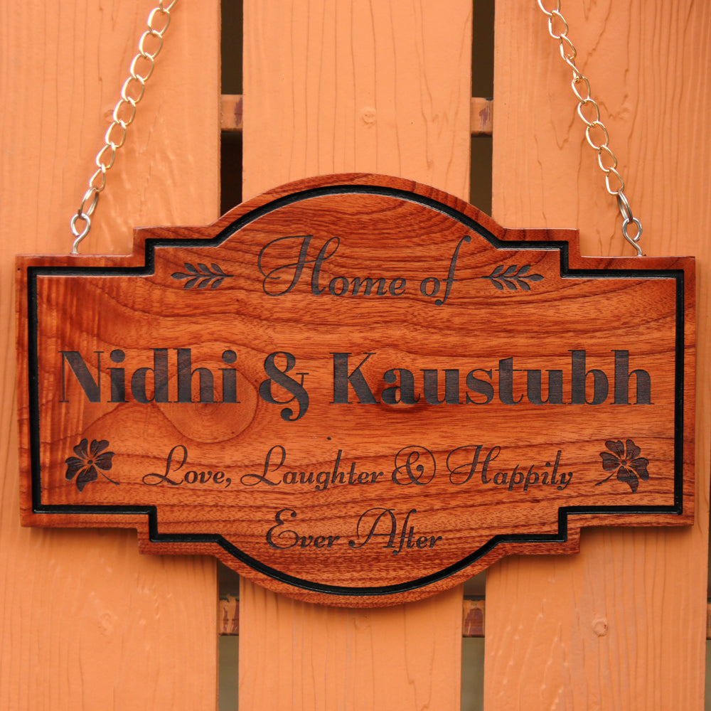 Family Name Signs For Outdoors - Name Board Online - Custom Hanging Name Signs - Hanging Wooden Board For Couples - Valentine's Day Gifts For Men - Valentine's Day Gifts For Women - Unique Gift Ideas - Romantic Gifts Online - Wood Engraved Gifts - Manufactured Wood Products - Personalised Wooden Gifts - Woodgeek - Woodgeekstore