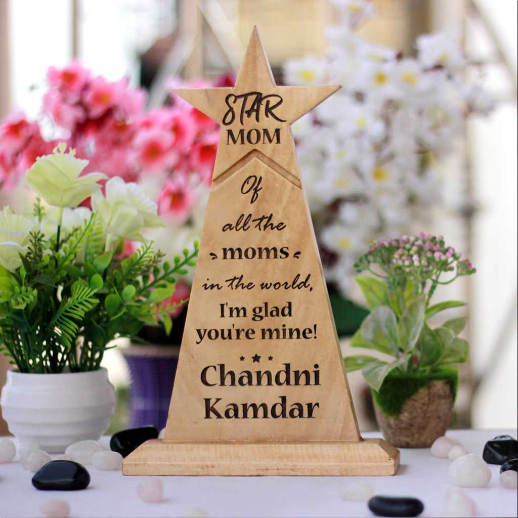 Wooden Star Trophy For Mom - These custom awards and trophies make perfect gifts for mothers - Buy unique mother's day gifts online from The Woodgeek Store