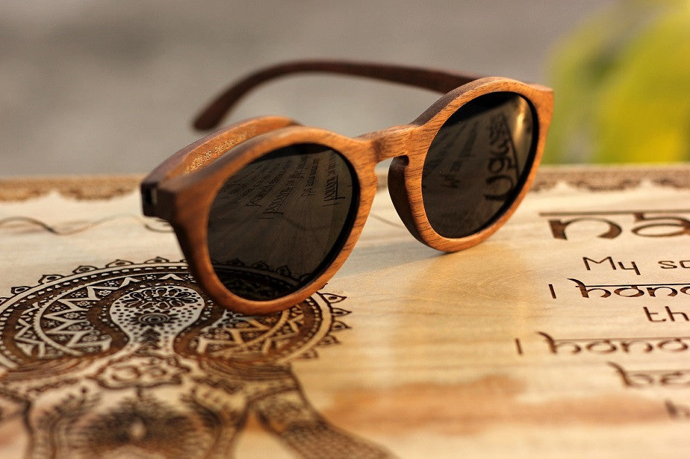 Polarized Wooden Sunglasses - Hipster Sunglasses - Round frame Sunglasses - Woodgeek Store