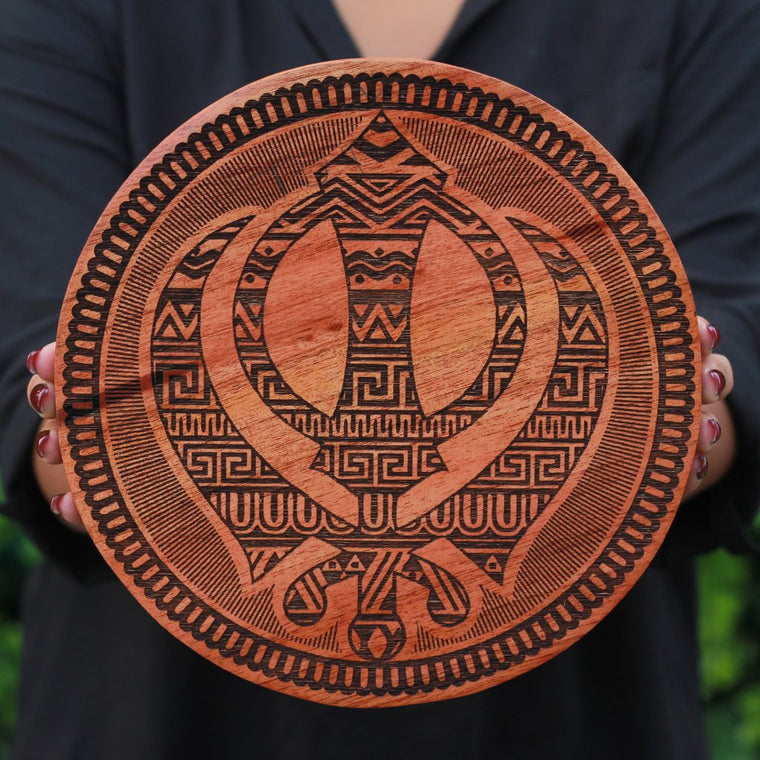 the sikh khanda wooden poster carved on mahagony wood by woodgeek store