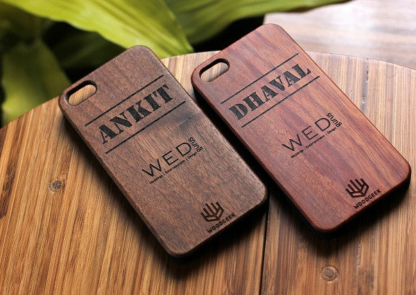 Personalized wooden iPhone case with company name from Woodgeek Store