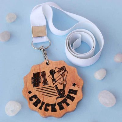 #1 Cricketer Sports Medal. This engraved wooden medal is the best gift for cricket lovers. Buy more customised gifts for sports lovers from The Woodgeek Store.
