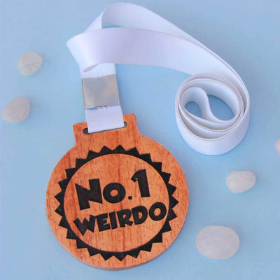 #1 Weirdo Wooden Medal - An Engraved Medal In Mahogany and Birch wood That Comes With A Ribbon - These Funny Wooden Medals Make Great Gift Ideas For Friends