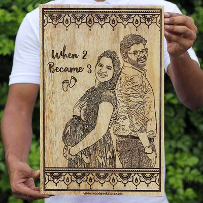 Custom Engraved Wooden Frame for Expecting Parents - Gifts for Pregnant Mothers for baby shower - Personalized Wooden Wall Decor in Beech Wood - Woodgeek Store