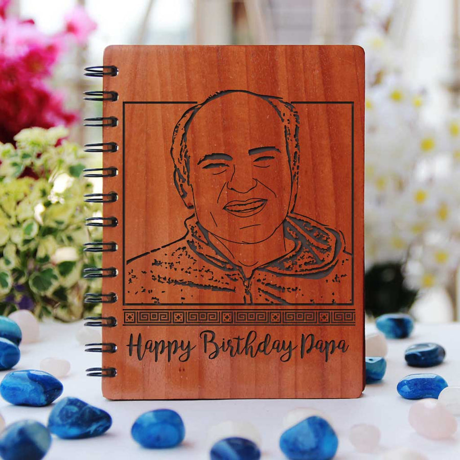 Diary for dad with birthday wishes for father. This Wood Engraved Photo Of Dad On Wooden Notebook Is One Of The Best Birthday Gifts For Dad. This personalised wooden notebook is one of the best gifts for dad.
