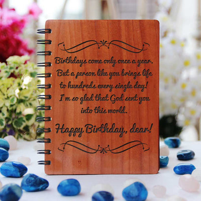 There are more than a billion beautiful things I would like to say to you. But I don't know how so all I'm going to say for now is you are an absolutely amazing girl to me. Happy Birthday! Personal Birthday Message Engraved On A Wooden Notebook As Birthday Gift. Personalized Gifts Make The Best Birthday Gifts.