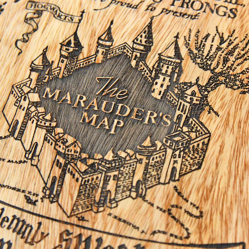 Marauder\'s Map Wall Poster - Wooden Poster for Harry Potter Fans ...