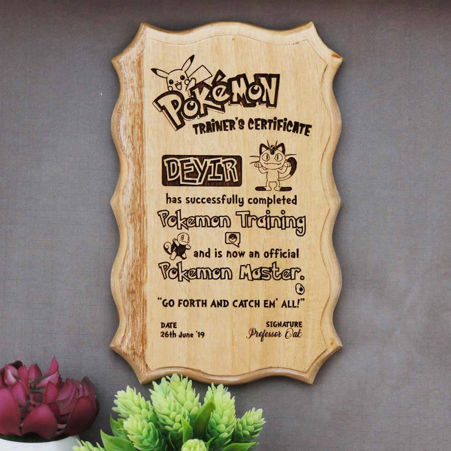 Personalized Pokemon Master Certificate. This Wooden Certificate Is One Of The Best Pokemon Gifts. An Award Certificate Which makes Great Gifts for Pokemon Fans.