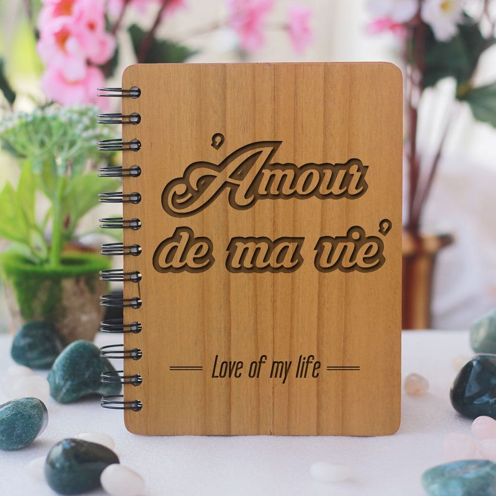Notebook - Amour De Ma Vie: Love Of My Life - Bamboo Wood Notebook