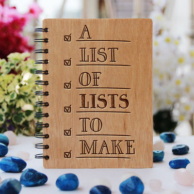 A List of Lists to Make Notebook - List of lists to make - journal notebook - Wooden Journal - Notebooks and Journals -  Wooden Notebooks India - Gifts for friends -  woodgeekstore