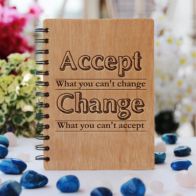 Wooden Spiral Notebook Engraved With Inspirational Quote: Accept What You Can't Change, Change What You Can't Accept - Personalized wooden notebook - Journal Notebook