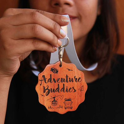 Adventure Buddies Wooden Medal. A Trophy Medal Gift For A Friend Who Loves To Travel. This Custom Medal Is One Of The Best Gifts For Travel Lovers & Adventure Lovers. Buy Unique Award Medals Online From The Woodgeek