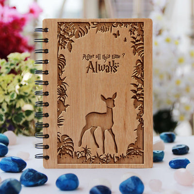 Harry Potter Notebook - After all this time? Always - Snape & Lily - Gifts for Potterheads - Bamboo Wood Notebook