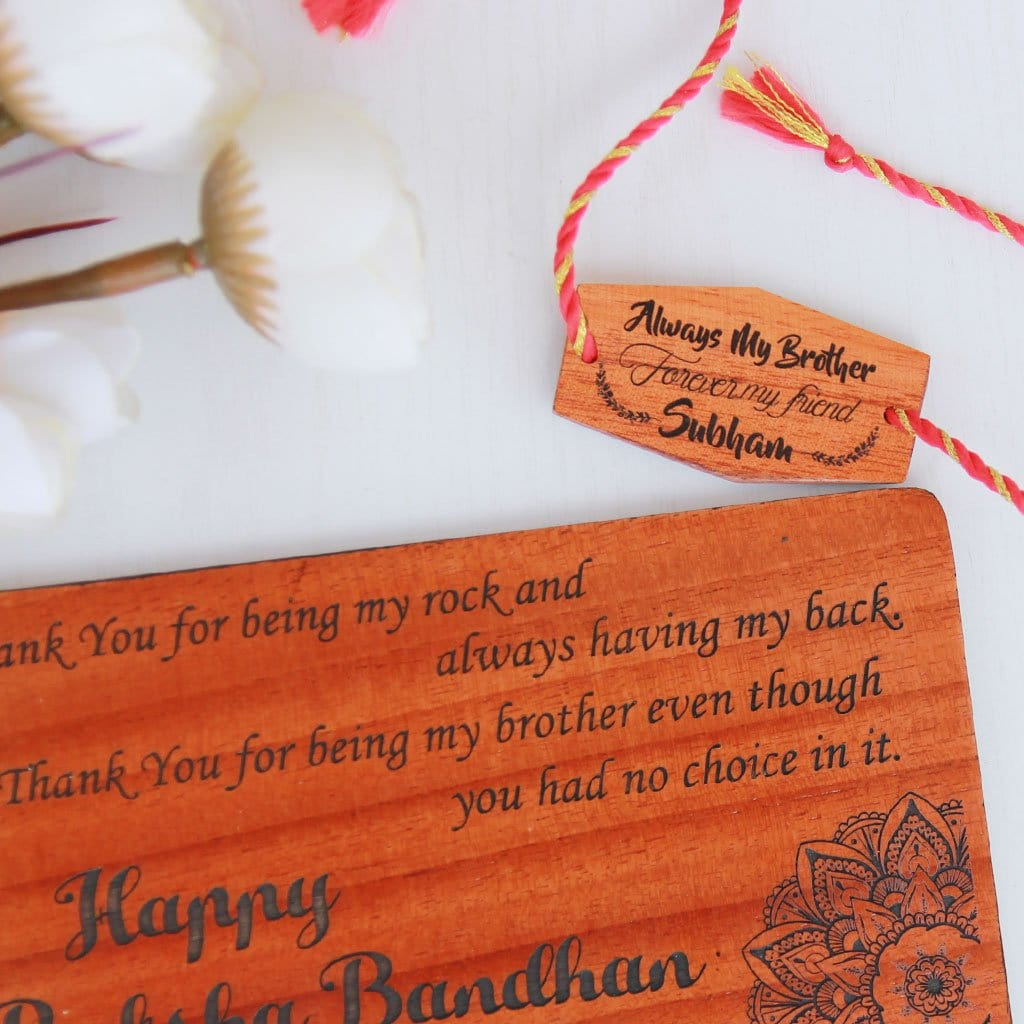 Always My Brother Forever My Friend Personalised Rakhi and Raksha Bandhan Greeting Card. This Wooden Rakhi and Wooden Greeting Card Is The Best Rakhi Gift for Brother. Buy Rakhi Online and send Rakhi online with Woodgeek Store.