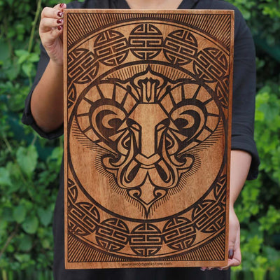 The Aries Ram Carved Wooden Poster by Woodgeek Store - Zodiac Sign Wooden Artwork - Buy Wood Wall Art Decor Online