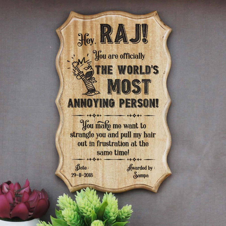 Humorous Awards - World's Most Annoying Person Funny Certificates - Wooden Custom Certificates - Woodgeek Store