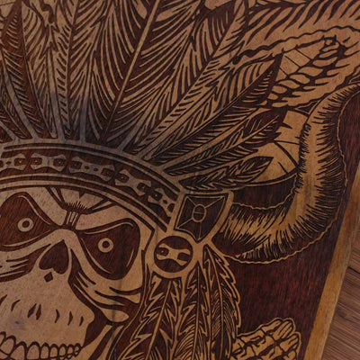 Wood Engraving - Aztec Warrior Carved Wooden Poster by Woodgeek Store - Character Art - Wooden Artwork - Aztec Skull Wood Wall Art Decor Online