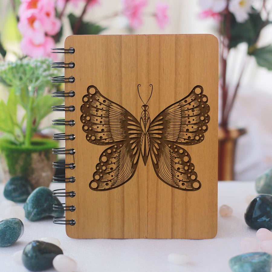 Butterfly Personalized Spiral Bound Notebook - This Wooden Diary Makes One Of The Best Gift Ideas For Friends Who Love To Journal - Buy More Custom Spiral Notebooks Online From The Woodgeek Store