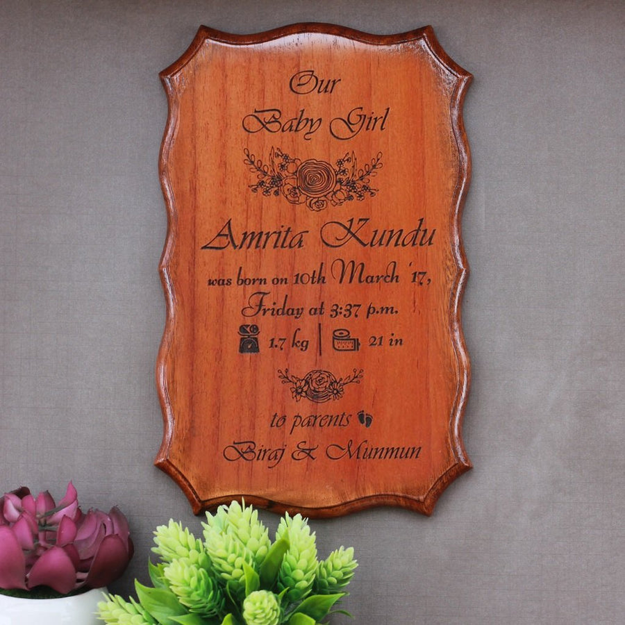 Personalized Wooden Baby Birth Certificate