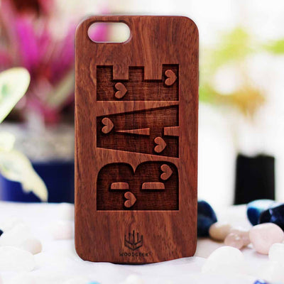 Bae Wooden Phone Case from Woodgeek Store - Rosewood Phone Case - Engraved Phone Case - Wooden Phone Covers - Custom Wood Phone Case - Cool & Funny Phone Cases