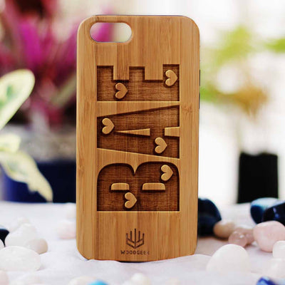 Bae Wooden Phone Case from Woodgeek Store - Bamboo Phone Case - Engraved Phone Case - Wooden Phone Covers - Custom Wood Phone Case - Cool & Funny Phone Cases