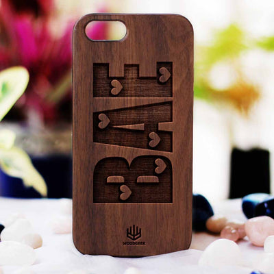 Bae Wooden Phone Case from Woodgeek Store - Walnut Wood Phone Case - Engraved Phone Case - Wooden Phone Covers - Custom Wood Phone Case - Cool & Funny Phone Cases