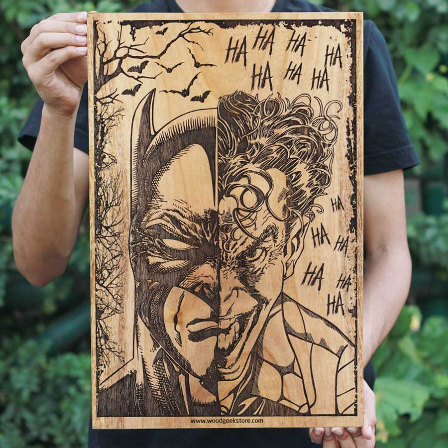Batman & Joker Wooden Poster - The Dark Knight Wall Poster - Gifts for Batman Fans by Woodgeek Store