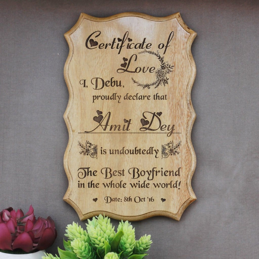 Personalized World's Best Boyfriend Certificate - Greatest Boyfriend Award Certificates - Unique Gifts for Boyfriend - Valentine's Day Gifts - Custom Wooden Certificates by Woodgeek Store