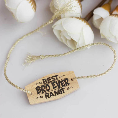 Best Bro Ever Personalised Rakhi and Raksha Bandhan Greeting Card. This Wooden Rakhi and Wooden Greeting Card Is The Best Rakhi Gift for Brother. Buy Rakhi Online and send Rakhi online with Woodgeek Store.