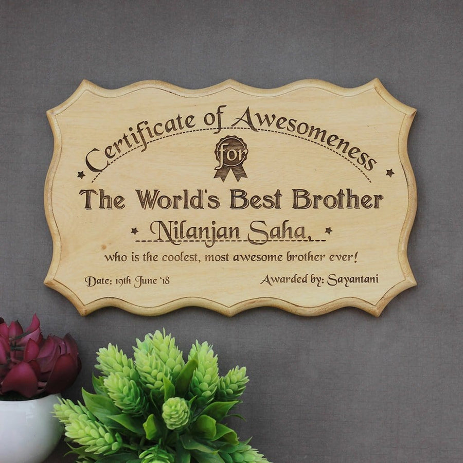 Personalized World's Best Brother Certificate - Best Brother Award Certificates - Unique Gifts for Brothers - Custom Wooden Certificates by Woodgeek Store
