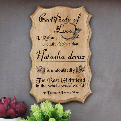 Personalized World's Best Girlfriend Certificate - Greatest Girlfriend Award Certificates - Unique Gifts for Girlfriend - Valentine's Day Gifts - Custom Wooden Certificates by Woodgeek Store