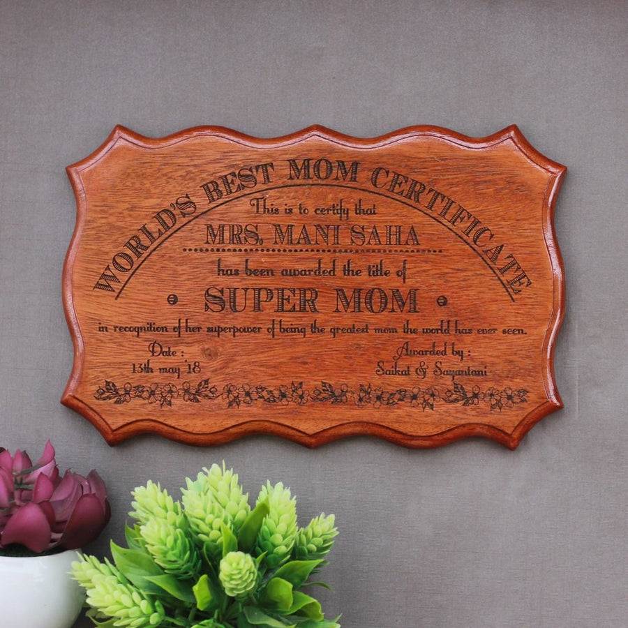 Personalized World's Best Mom Wooden Certificate