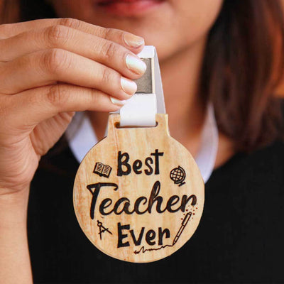 Best Teacher Ever Wooden Medal - This Custom Engraved Medal Is A Great Teacher's Day Gift - This Custom Medal Makes Perfect Appreciation Awards For Teachers