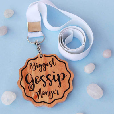 Biggest Gossip Monger Funny Medal That Comes With A Ribbon. This is the best funny gift for friends and makes perfect office gifts.