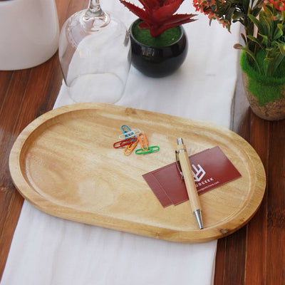 Oval Shaped Birch Wood Tray - A Decorative Wooden Tray to keep knick knacks like office essentials, keys and trinkets. This wooden tray can also be used as a serving tray for food and drinks