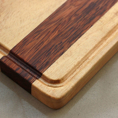 Juice Groove To Avoid Spillage - Birch & Walnut Striped Wooden Chopping Board - Wood Cutting Boards - Wood Chopping Block - Butcher Block Wood - Kitchen Cutting Board - Walnut Chopping Board - Best Chopping Board - Hardwood Cutting Boards - Woodgeek Store
