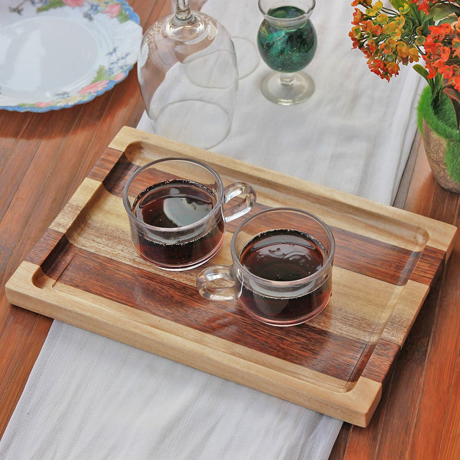 Birch and Walnut Wooden Tray - Wooden Serving Tray - Coffee Serving Tray - Bar & Cocktail Tray - Wooden Tea Tray - Wooden Food Trays - Small Wooden Tray - Decorative Wooden Serving Trays - Bed Serving Tray - Large Serving Tray - Rectangular Serving Tray - Kitchen Decor - Wooden Kitchen Accessories - Woodgeek Store