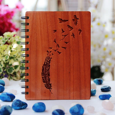 Feather breaking into birds wooden notebook - Freedom Notebook - Engraved Wood Journal by Woodgeek Store